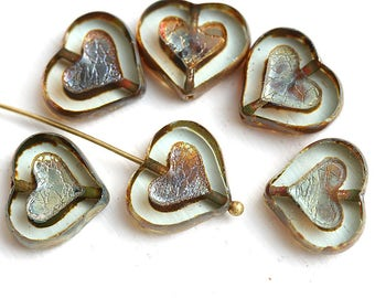 Rustic Heart beads, Crystal Clear with Picasso finish czech glass beads, table cut glass heart - 14mm - 6Pc - 2978