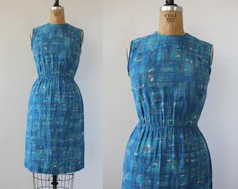 vintage 1950s dress / 1950s Day Dress / 50s Blue Day Dress / 1950s sheath dress / 50s wiggle dress / 50s sleeveless dress / SZ M Med Medium