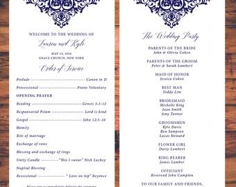 Elegant Wedding Ceremony Programs Card Traditional Wedding Program Digital Print Party Invite Card Digital Printable Wd