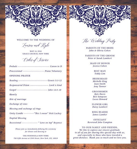 Elegant wedding ceremony programs card traditional wedding like this item stopboris Images