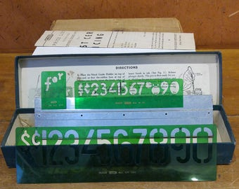 1940s Post Cereal Pricing Set, Vintage Number / Pricing Stencils, Original Box
