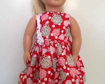 Ribbons and roses - bright day dress for 18in dolls like American Girl and Our Generation