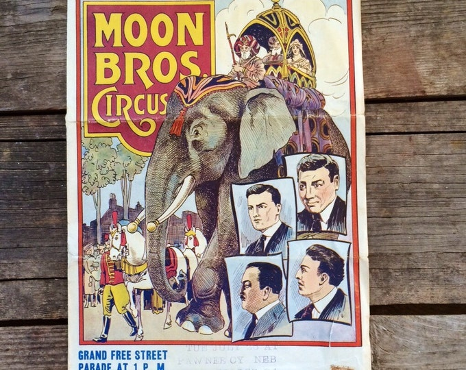 Moon Brothers Vintage Circus Poster 1920s