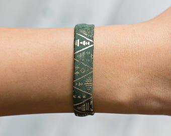 Aztec Bracelet - Aztec Cuff - Tribal Bracelet - Green Tribal Bracelet - Green Cuff Bracelet - Gold Cuff Bracelet - Green and Gold Bracelet
