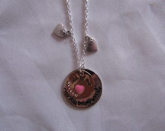 CLEARANCE silver round heart pendant chain necklace