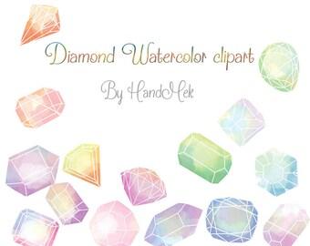 Diamond watercolor clipart Instant Download PNG file - 300 dpi.