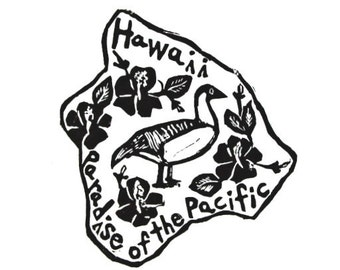 "Hawaii state linoleum block print with text + state bird and flower - 9""x12"" wall art"