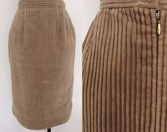 1960's Tan Corduroy Pencil Skirt Vintage Size XS by Maeberry Vintage
