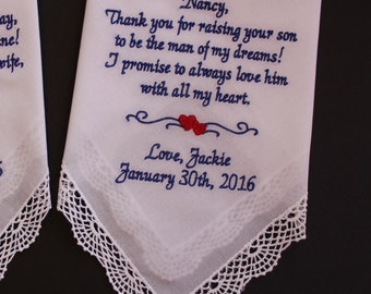 Mother of the Groom Gift from Bride - Wedding Hankerchief, ALWAYS love him with all my heart, custom hankie, personalize hanky, LS0F23SV102