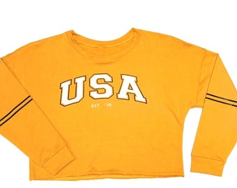 USA mustard hoodie Woman once size