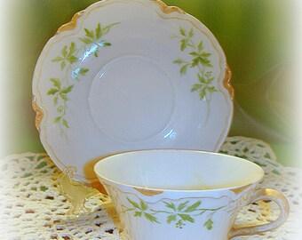 Antique Haviland Limoges Demitasse Teacup Tea Cup & Matching Saucer Porcelain Made in France Late 1800's