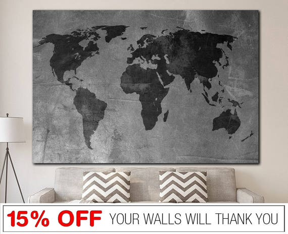 World map gray world map word map canvas world map print like this item gumiabroncs Image collections
