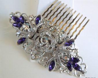 Bridal Rhinestone Hair Comb Wedding Rhinestone Hair Comb Rose Rhinestone Hair Comb Purple Swarovski hair comb Purple leaf Hair Comb ROSELANI