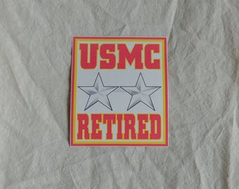 "USMC Major general retired sticker, 4 1/4"" x 5"", gloss vinyl, weatherproof"
