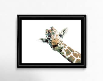 Geometric giraffe, peeking animal, giraffe printable, geometric animal art, colorful giraffe, whimsical wall art, low poly art, animal print