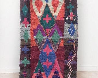 "Moroccan Boucherouite rug,""N37"", Vintage rag rug, Berber rug, Moroccan decor, Boucherouite carpet, Colorful Boucharouette"