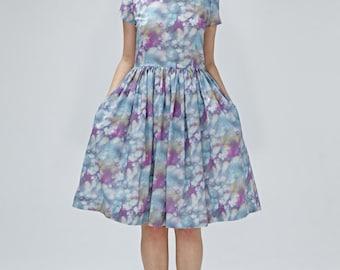 Invité robe de mariée de s'adapter et fusée bleu de demoiselle d'honneur robe des années 1950 des années 50 robe imprimé Liberty robe avec poches longueur aux genoux