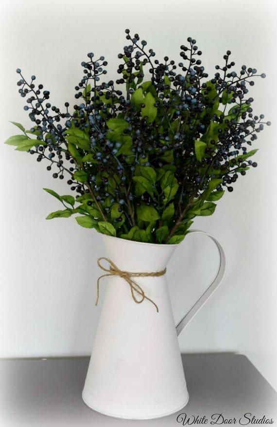 Farmhouse Artificial Blueberry Arrangement in White Pitcher