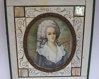 Antique Original MINIATURE PORTRAIT PAINTING of Lady in Elegant Ornate Frame