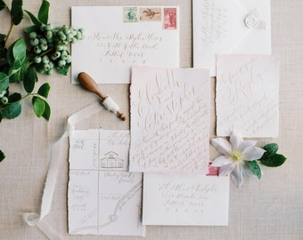 Custom Hand-Painted Wedding Invitation Suite with Hand-Lettered Calligraphy
