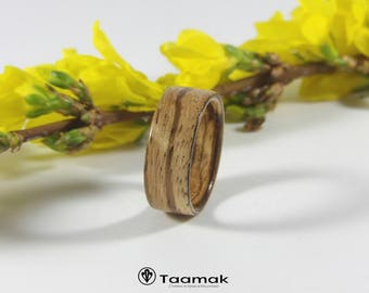 Ring bearer wedding or engagement Zebrawood rings ring made of wood-made in the wood hand curved