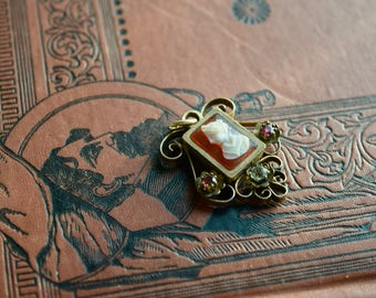 SALE  Victorian Cameo PHOTO Pendant, Hardstone Cameo With Paste Gems and Flip Side Photo