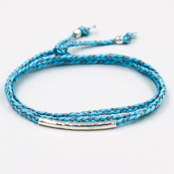 braided cord bracelet triple towers 925 sterling silver band
