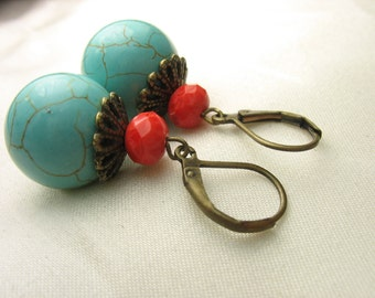 Turquoise earrings ... lovely turquoise stone round earrings with antique brass and red glass beads ... earth mother