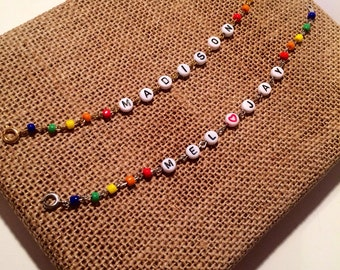 Rainbow Beaded Name Bracelet