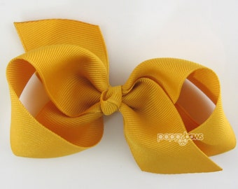 Girls Hair Bow - mustard yellow hair bow - Loopy Bows - large hair bows - big hair bows - bows for girls - toddler clips - 3.5 inch bows
