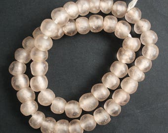 Pale Pink African Beads, Recycled Glass, Ghana Krobo, 14 mm, One Strand, 40 Beads