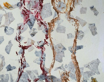 Fragile #5 - raw art acrylic painting on paper. Armless couple in cream and earth tones