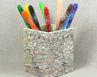 USA Map Pencil Pot, Father's Day, Wanderlust Gift, Pencil Holder, Desk Storage, Desk Tidy, Map theme, Map Gift + Free Gift Wrapping