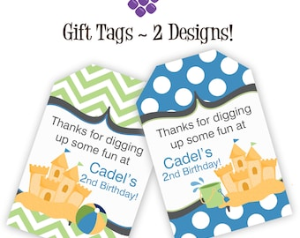 Beach Gift Tags - Lime Green Chevron and Blue Polka Dots, Beach Sandcastle Personalized Birthday Party Gift Tags - A Digital Printable File