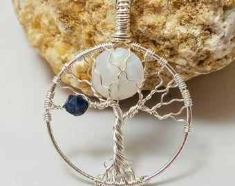 Made to Order: Silver Plated Wire Wrapped Family Tree of Life Pendant with Rose Cut Moonstone Full Moon