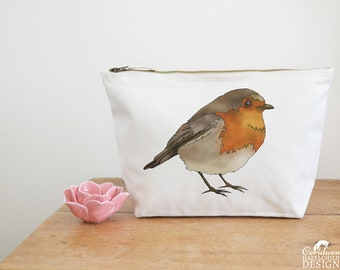 Robin Canvas Wash Bag, Large Zipper Pouch, Makeup Bag, Toiletry Bag, Accessory Bag, Robin Gift