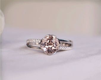 Flower Pink Morganite Ring Morganite Engagement Ring Wedding Ring Anniversary Ring Promise Ring