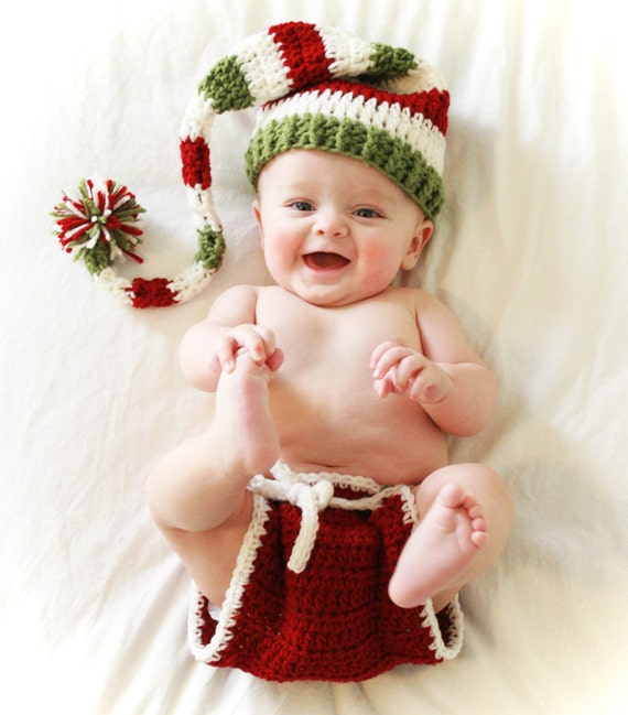 Christmas Hat and Diaper Cover Baby Girl Boy Newborn Toddler, Long Tail Elf Hat, Bloomers, Baby Santa Hat, Prop, Outfit, Photo, Holiday