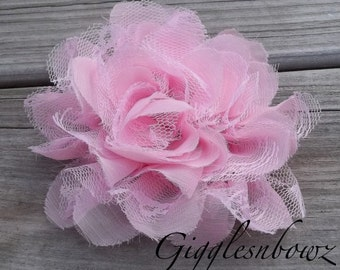 SALE!! Gorgeous Shabby Chic Frayed Chiffon and Lace Rose Flower-LIGHT PINK  X-Large Rose 5 inch