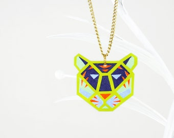 Space Tiger Necklace Neon Green Pendant, Fluorescent Glowing In UV Light