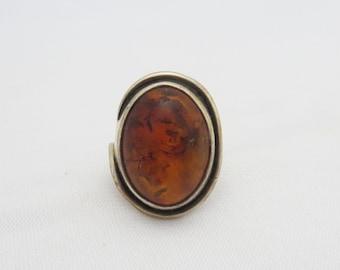 Vintage Modernist Sterling Silver Natural Baltic Amber Ring Size 6.5