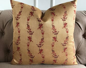 """English Garden Gold With Red Floral Luxury Decorative Pillow Cover 22"""" x 22"""""""