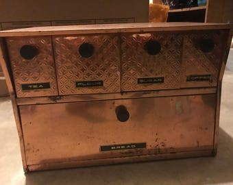 Vintage copper krestline bread box