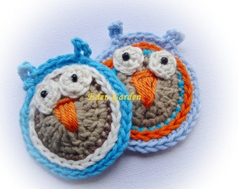 8 Crocheted Owls Appliques