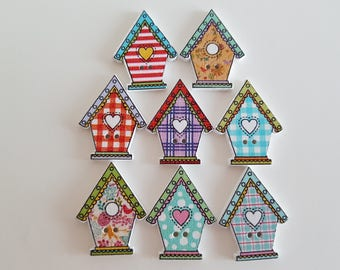 Set of 5 wooden house buttons