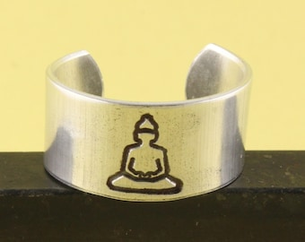 Yoga Ring - Buddha Ring - Silver Ring - Adjustable Ring - Gift for Yoga Lover - Be Here Now Ring - Size 6 Ring - Size 7 Ring - Size 8 Ring