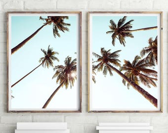 Set Of 2 Palm Trees Prints, Tropical Print, Wall Art, Palm Print, Wall decor, Coastal Art, Beach Decor, Palm Photography, Download,  #037