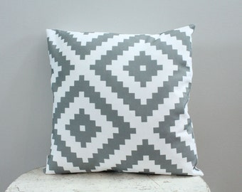 SALE Pillow cover grey aztec 18 inch 18x18 modern hipster accessory home decor nursery baby gift present zipper closure canvas ready to ship