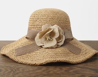 Flower hat Take bowknot, straw hats, POTS hat, sun hat, folding, broad-brimmed straw hats, straw woman