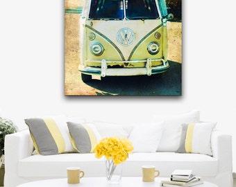 VW Bus Surfer Art, VW Bus Canvas Wall Art Large, Retro Surfer Wall Art, Retro VW Bus Beach Decor, Canvas Wall Art, Boys Room Christmas GIft